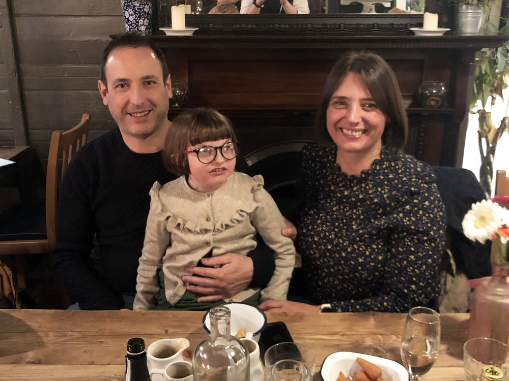 Mia with her Uncle Martin and mum, Claire