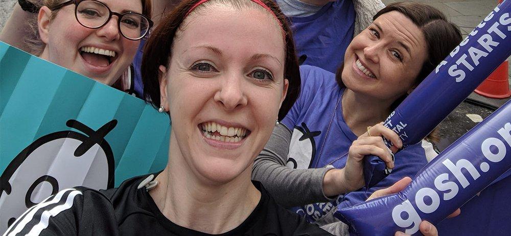 GOSH nurse, Lynsay, with GOSH cheer squad