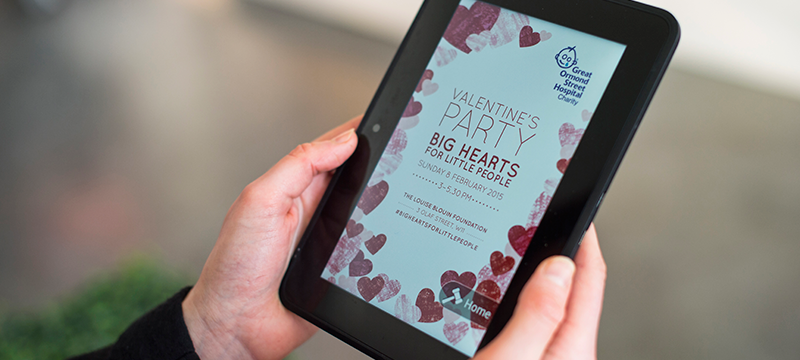Valentine's Party web page displayed on an iPad