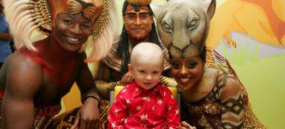 "Patient Seamus with The Lion King's Andile Gumbi (""Simba""), Narran McLean (""Nala""), and Shaun Escoffery (""Mufasa"")"