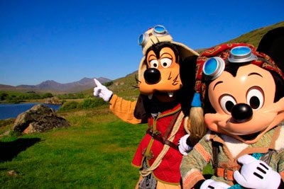 Mickey and Goofy on the Snowdon Challenge