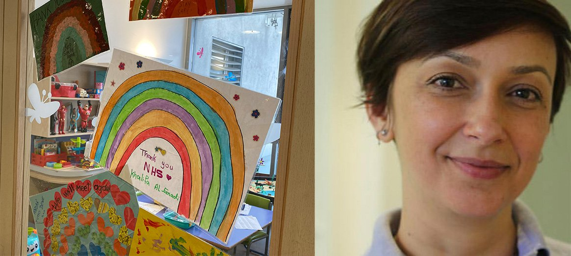 Claudia, GOSH play worker, and artwork in the hospital