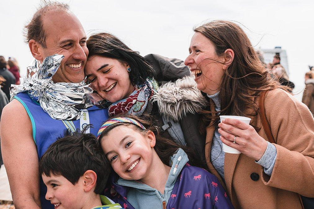 Brighton Marathon, family celebrating post race