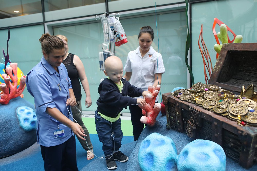 Patient Finn explores The Disney Reef at GOSH