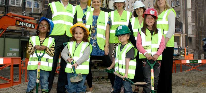 Simeon, Jaya, Joseph and Chloe together with Tess Daly, Vernon Kay and Disney staff at the Ground Breaking ceremony