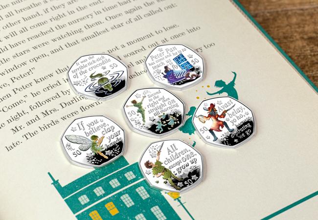 Image of commemorative Peter Pan at 90 50p collectors set