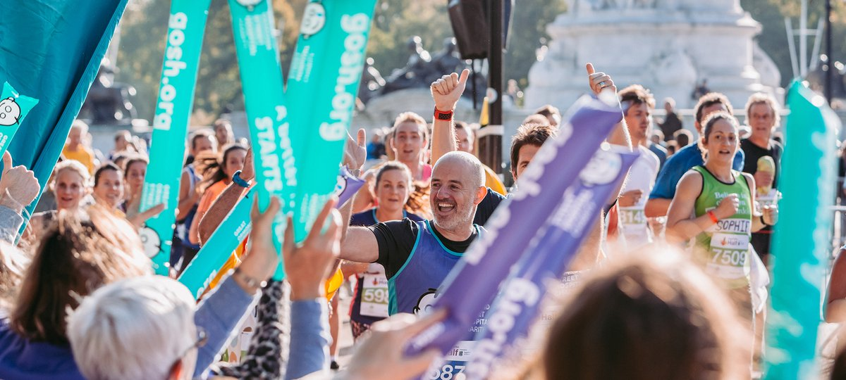 A fundraiser runs a half marathon for Great Ormond Street Hospital Children's Charity