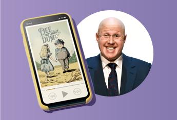 Iphone with audiobook artwork and Matt Lucas' face