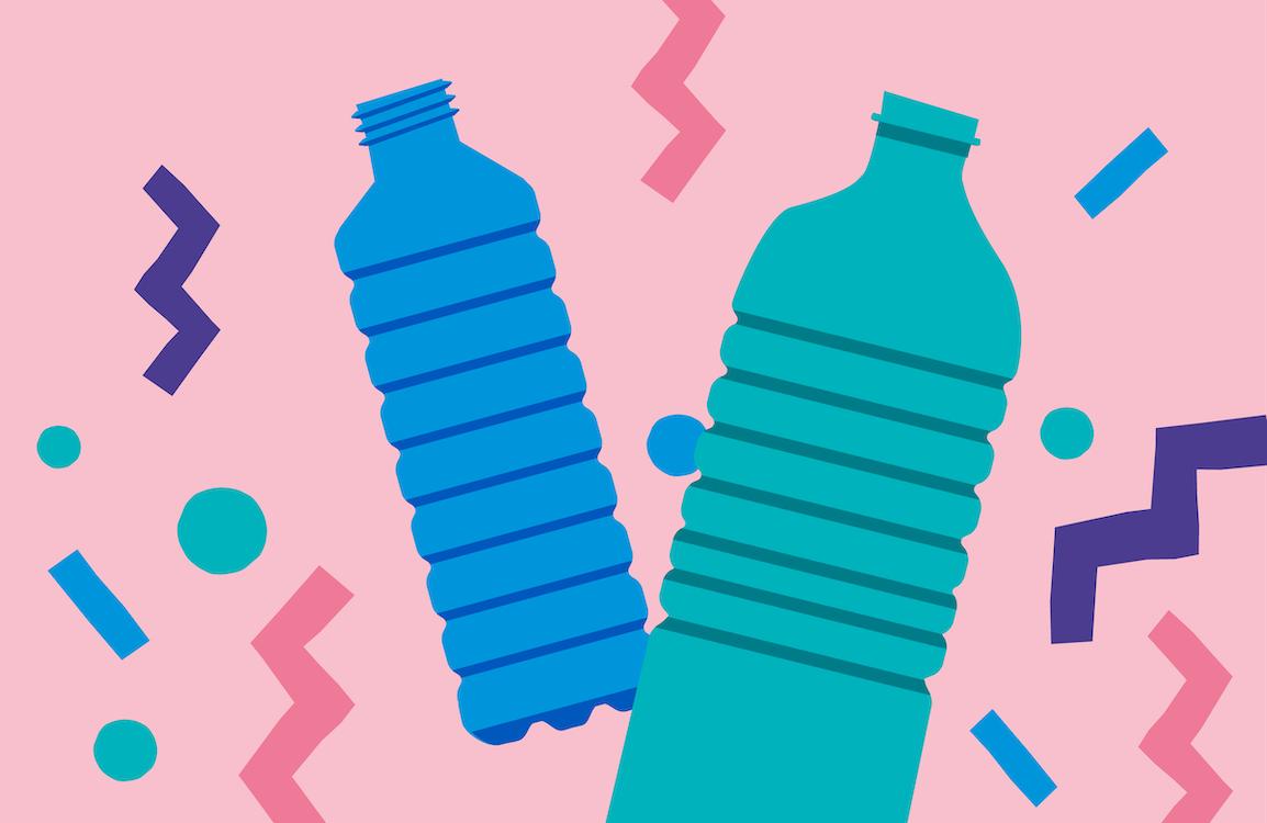 An illustration of two plastic bottles
