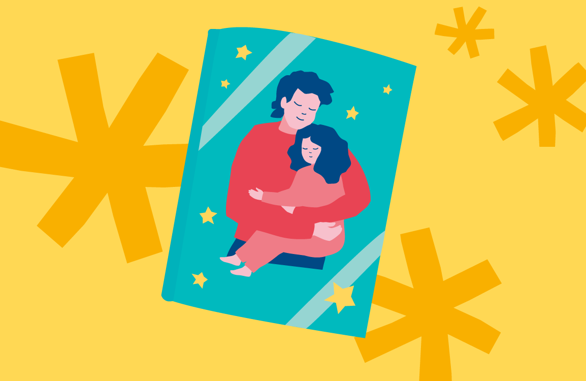 An illustration of child and a parent in a book