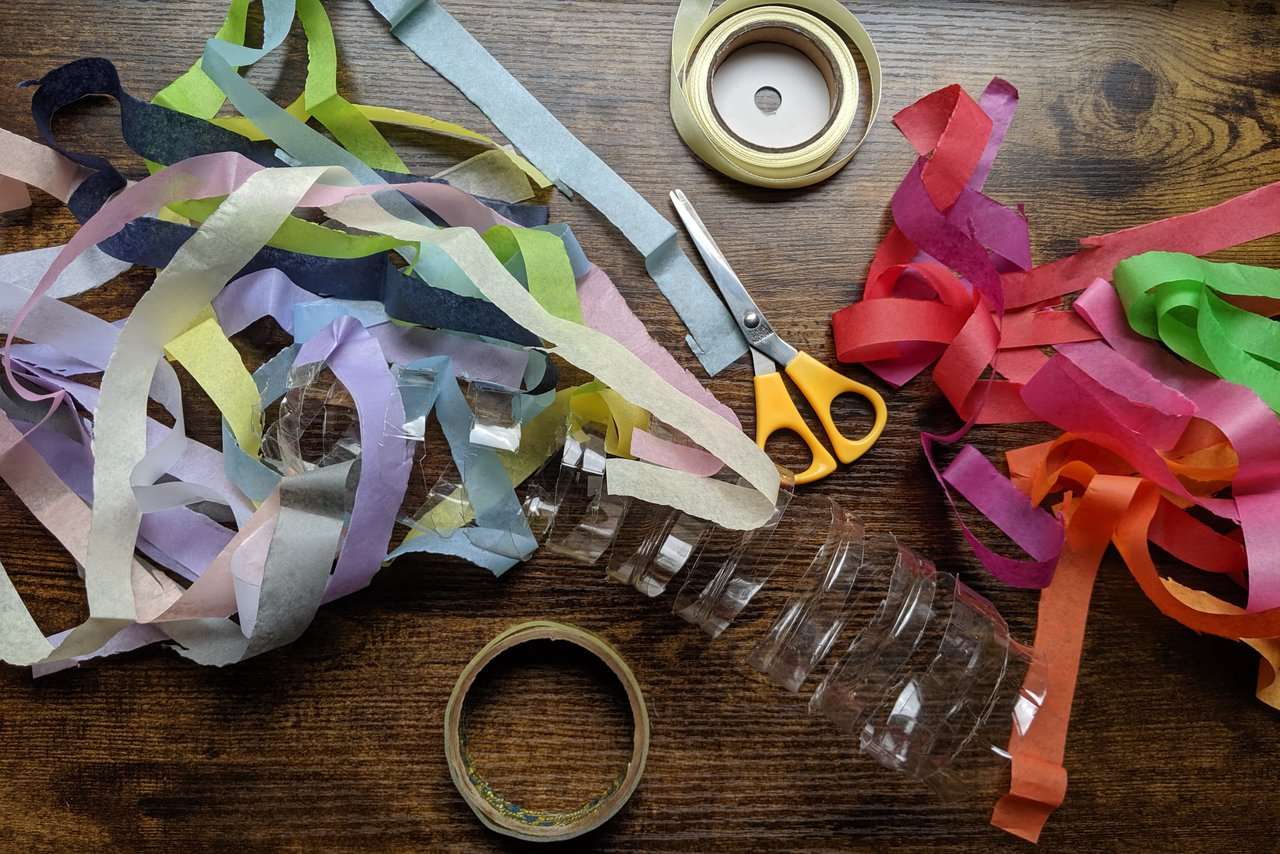 The materials required for step three of making a bottle twirler