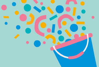 An illustration of a bucket with different coloured shapes streaming out