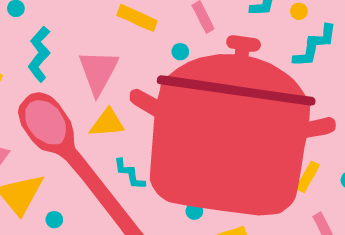 illustration of a red pot