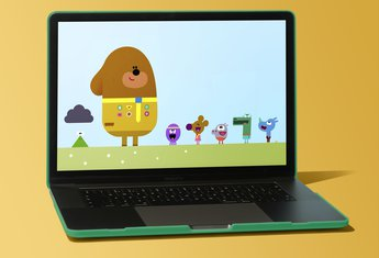 Hey Duggee episode being watched on a laptop
