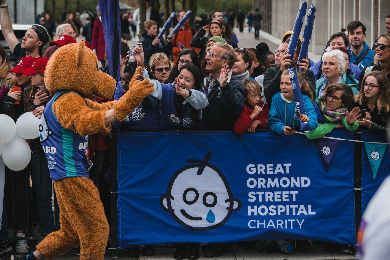 Bernard Bear mascot at the 2019 London Marathon