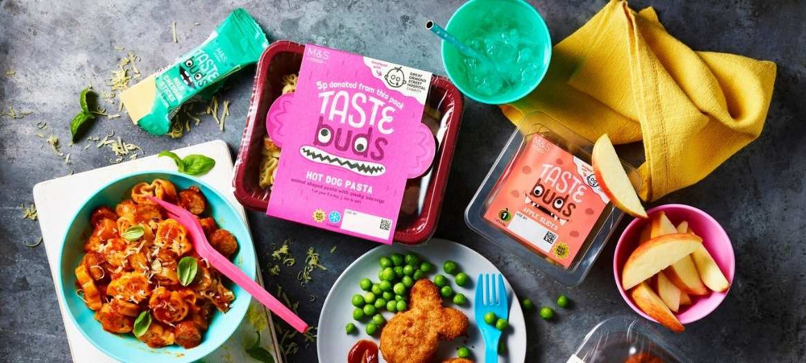 Photo of different products in the M&S Taste Buds range
