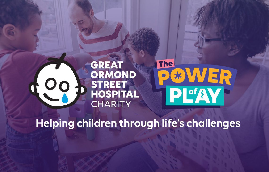 Power of Play logo and GOSH Charity logo over picture of family playing. Copy reads: Helping children through life's challenges