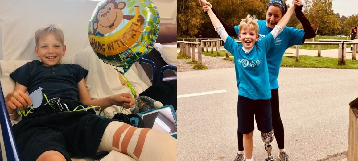 Two photos. One of Thomas in bed at GOSH smiling and holding balloon. Another one of Thomas and his mum cheering together after taking part in RBC Race for the Kids