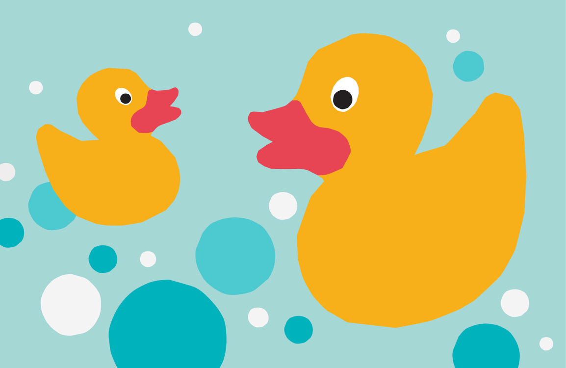 An illustration of two rubber ducks and bubbles