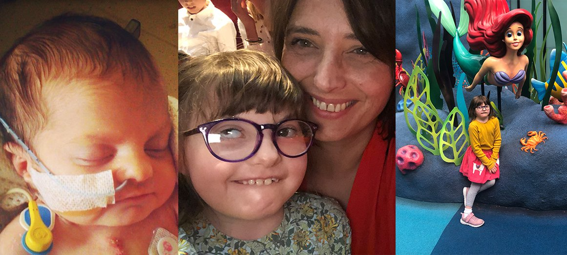 Mia five days after her heart operation, with her mum, Claire, and at The Disney Reef at GOSH