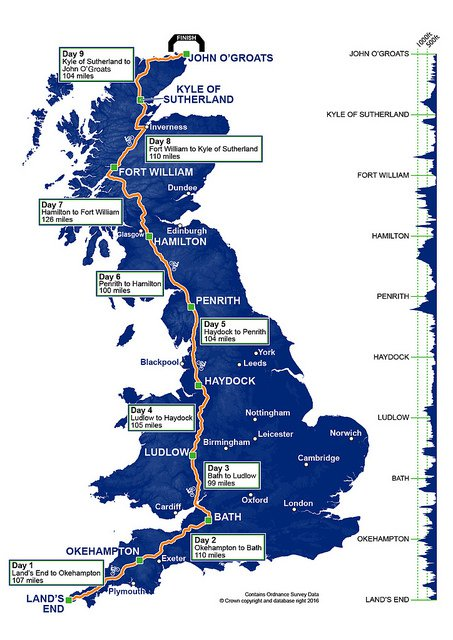 The route of Ride Across Britain's 2019 route